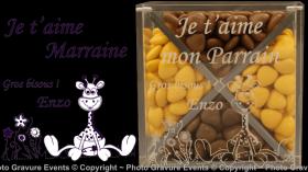 Boite Dragées en Plexiglas - Mod. Girafe - Cadeau personnalise personnalisable - 1
