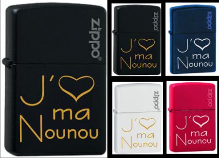Briquet Zippo - J'aime ma Nounou - Cadeau personnalise personnalisable - 1
