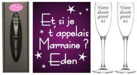 Lot 2 Flûtes Et si je t'appelais Parrain Marraine (Mod.Etoile) - Cadeau personnalise personnalisable - 1