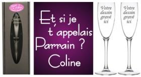 Lot 2 Flûtes Et si je t'appelais Parrain Marraine - Cadeau personnalise personnalisable - 1