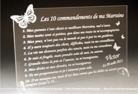 10 Commandements Parrain Marraine Mod. Papillon - Cadeau personnalise personnalisable - 1