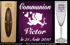 Kit du Communiant - 1 Flûte + 1 Plaque - Cadeau personnalise personnalisable - 2