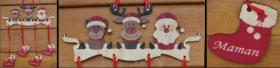 Mobile en Bois - Père Noël - 4 Chaussettes - Cadeau personnalise personnalisable - 1