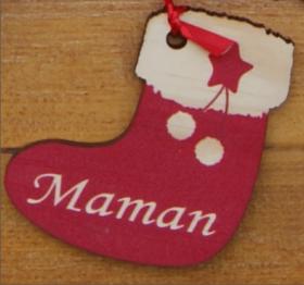 Mobile en Bois - Père Noël - 4 Chaussettes - Cadeau personnalise personnalisable - 4