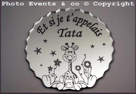 Dessous de Verre - Et si je t'appelais Tata Mod.Girafe - Cadeau personnalise personnalisable - 1