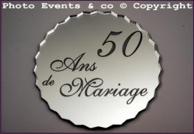 Dessous de Verre Miroir - 50 ans de Mariage - Cadeau personnalise personnalisable - 1