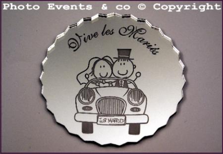 Dessous de Verre Miroir - Just Married - Cadeau personnalise personnalisable - 1