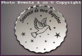 Dessous de Verre - Souvenir de mon Baptême Mod.Colombe - Cadeau personnalise personnalisable - 1