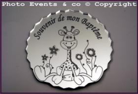 Dessous de Verre - Souvenir de mon Baptême Mod.Girafe - Cadeau personnalise personnalisable - 1