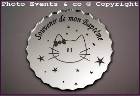Dessous de Verre - Souvenir de mon Baptême Mod.Chat - Cadeau personnalise personnalisable - 1