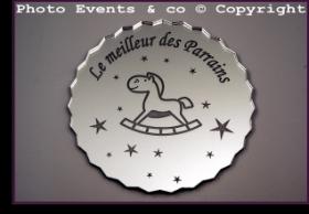 Dessous de Verre - Le Meilleur des Parrains Mod.Cheval - Cadeau personnalise personnalisable - 1