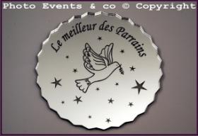 Dessous de Verre - Le Meilleur des Parrains Mod.Colombe - Cadeau personnalise personnalisable - 1