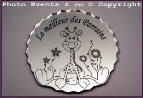Dessous de Verre - Le Meilleur des Parrains Mod.Girafe - Cadeau personnalise personnalisable - 1