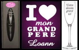 Flûte gravée - J' ♥ mon Grand Pere - Cadeau personnalise personnalisable - 1