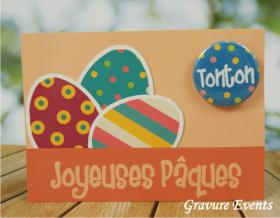 Carte Postale avec Badge - Pâques 1 - Cadeau personnalise personnalisable - 1