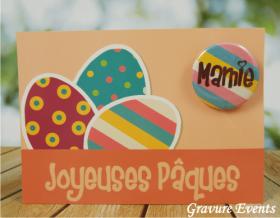 Carte Postale avec Badge - Pâques 1 - Cadeau personnalise personnalisable - 3