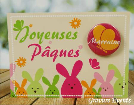 Carte Postale avec Badge - Pâques 2 - Cadeau personnalise personnalisable - 1