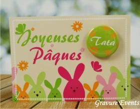 Carte Postale avec Badge - Pâques 2 - Cadeau personnalise personnalisable - 2