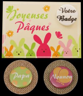 Carte Postale avec Badge - Pâques 2 - Cadeau personnalise personnalisable - 3