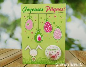 Carte Postale avec Badge - Pâques 3 - Cadeau personnalise personnalisable - 1
