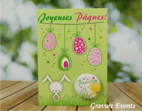 Carte Postale avec Badge - Pâques 3 - Cadeau personnalise personnalisable - 2