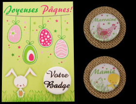 Carte Postale avec Badge - Pâques 3 - Cadeau personnalise personnalisable - 3