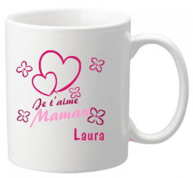 Mug Maman je t'aime Mod.7 - Cadeau personnalise personnalisable - 1