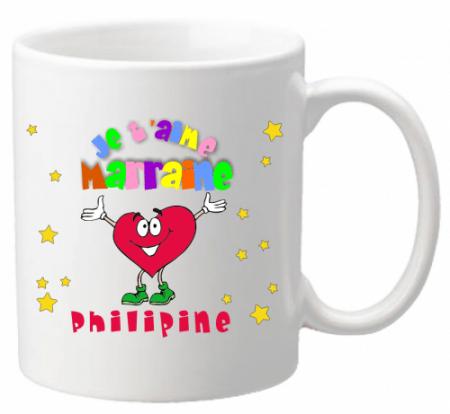 Mug Marraine je t'aime Mod.1 - Cadeau personnalise personnalisable - 1