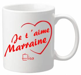 Mug Marraine je t'aime Mod.3 - Cadeau personnalise personnalisable - 1