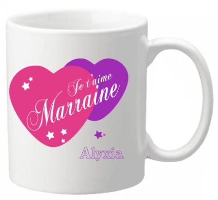 Mug Marraine je t'aime Mod.5 - Cadeau personnalise personnalisable - 1