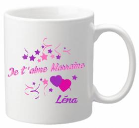 Mug Marraine je t'aime Mod.6 - Cadeau personnalise personnalisable - 1