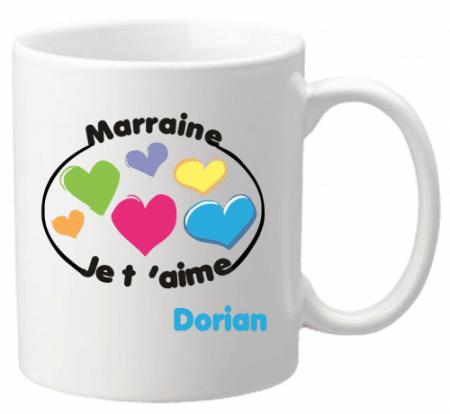Mug Marraine je t'aime Mod.8 - Cadeau personnalise personnalisable - 1