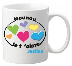 Mug Nounou je t'aime Mod.8 - Cadeau personnalise personnalisable - 1