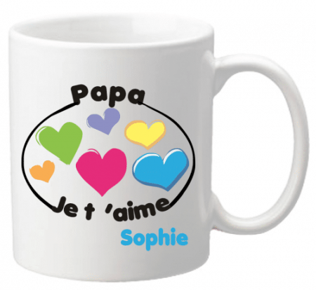 Mug Papa je t'aime Mod.8 - Cadeau personnalise personnalisable - 1