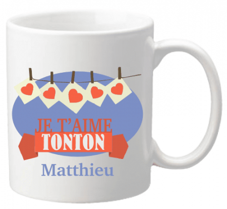 x Mug Tonton je t'aime Mod.27 - Cadeau personnalise personnalisable - 1