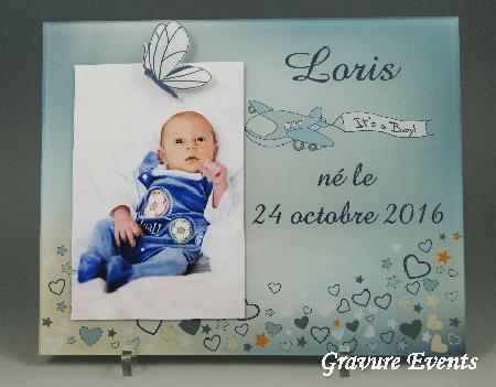 Cadre Photo Naissance (mod. K) - Cadeau personnalise personnalisable - cadeau naissance - thème avion - cadeau bébé -1