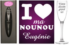 Flûte gravée - I Love ma Nounou - Cadeau personnalise personnalisable - 1