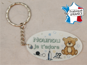 Porte Clef Nounou mod.Fbleu - Cadeau personnalise personnalisable - 1