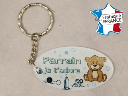 Porte Clef Parrain mod.Fbleu - Cadeau personnalise personnalisable - 1