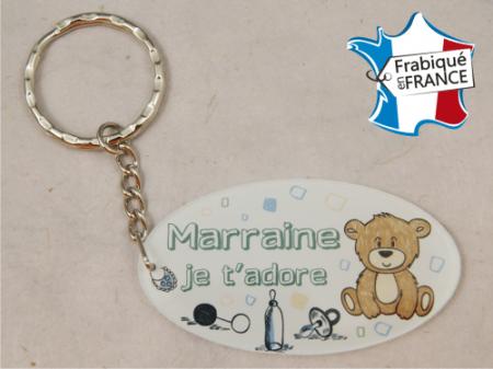 Porte Clef Marraine mod.Fbleu - Cadeau personnalise personnalisable - 1