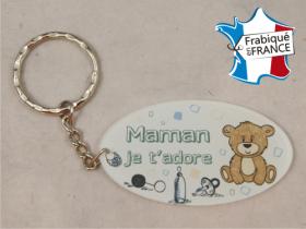 Porte Clef Maman mod.Fbleu - Cadeau personnalise personnalisable - 1