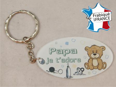Porte Clef Papa mod.Fbleu - Cadeau personnalise personnalisable - 1