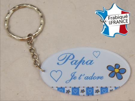 Porte Clef Papa mod.Gbleu - Cadeau personnalise personnalisable - 1