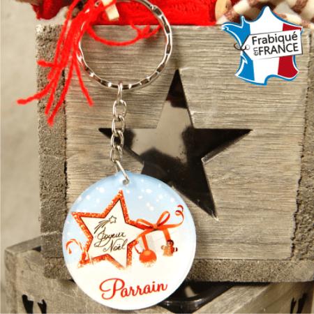 Porte Clef Joyeux Noël Parrain - Mod.Dn - Cadeau personnalise personnalisable - 1