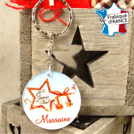 Porte Clef Joyeux Noël Marraine - mod.Dn - Cadeau personnalise personnalisable - 1