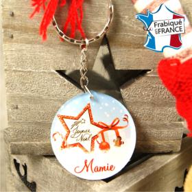 Porte Clef Joyeux Noël Mamie - mod.Dn - Cadeau personnalise personnalisable - 1