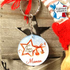 Porte Clef Joyeux Noël Maman - mod.Dn - Cadeau personnalise personnalisable - 1
