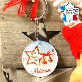 Porte Clef Joyeux Noël Maîtresse - mod.Dn - Cadeau personnalise personnalisable - 1
