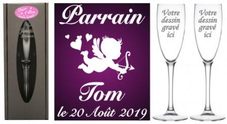2 flûtes gravées Parrain Marraine Ange - Cadeau personnalise baptême