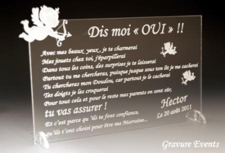 Veux tu être mon Parrain / Marraine (réf Ange) - Cadeau personnalise personnalisable - 1